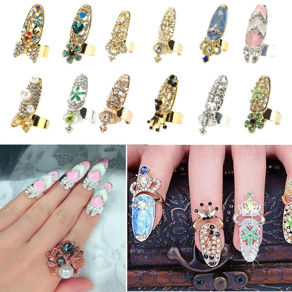 2018 Women Bowknot Nail Ring Charm Crown Flower Crystal Finger Nail