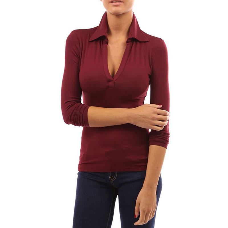 2018 Tallas grandes CELMIA Mujer solapa primavera V profundo manga larga Slim Fit camisas de polo Otoño Casual sólido negro blusa Tops