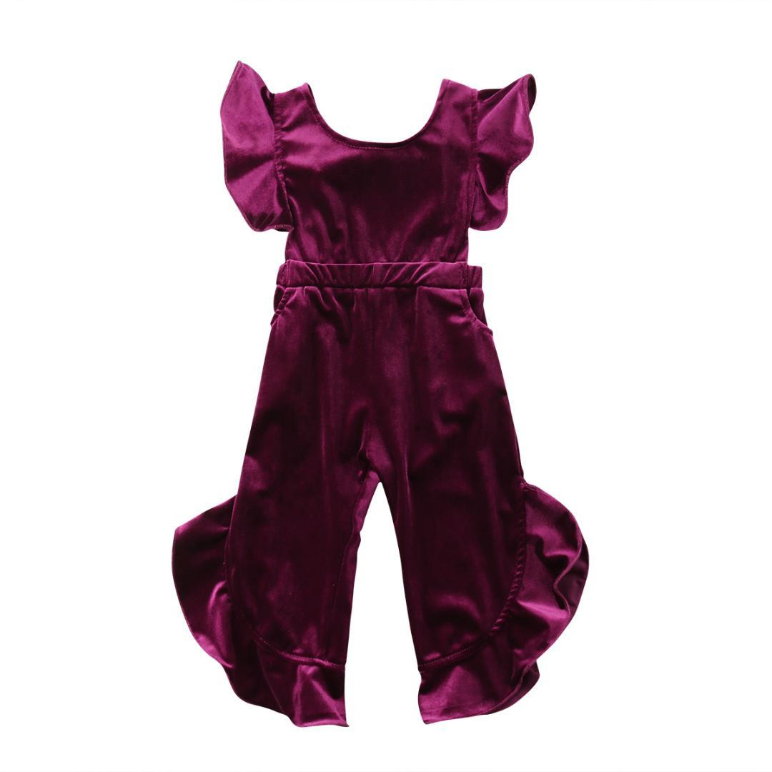 e12ae39b138 Toddler Kids Baby Girl Clothes Velvet Romper Short Sleeve Ruffles Jumpsuit  Sunsuit Outfit Clothing Girls 1-6T