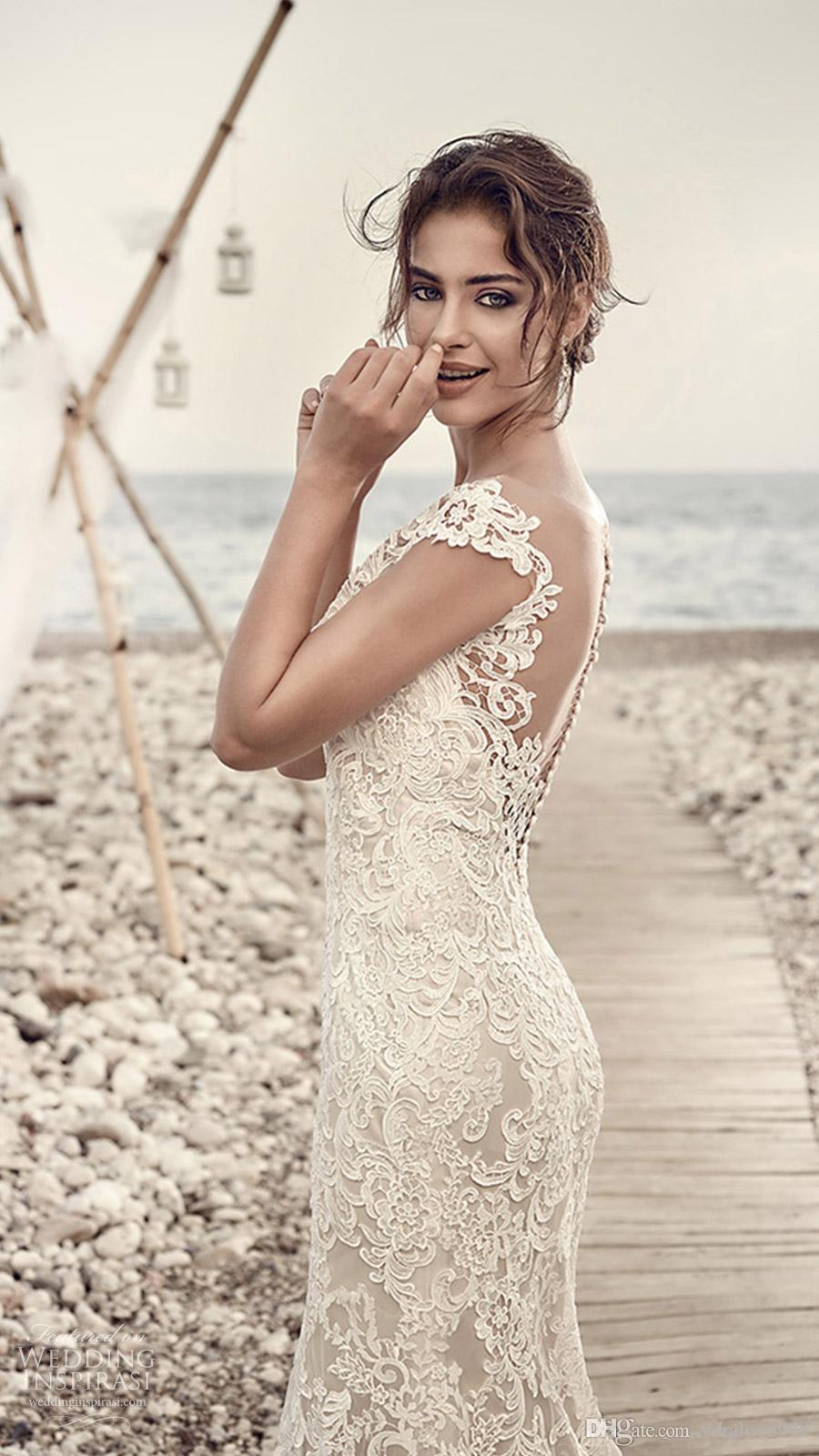 9e42c6bfc3f 2018 Gorgeous Eddy K Wedding Dresses Sheath Mermaid V Neck Capped Sleeves  Backless Lace Wedding Gowns ...
