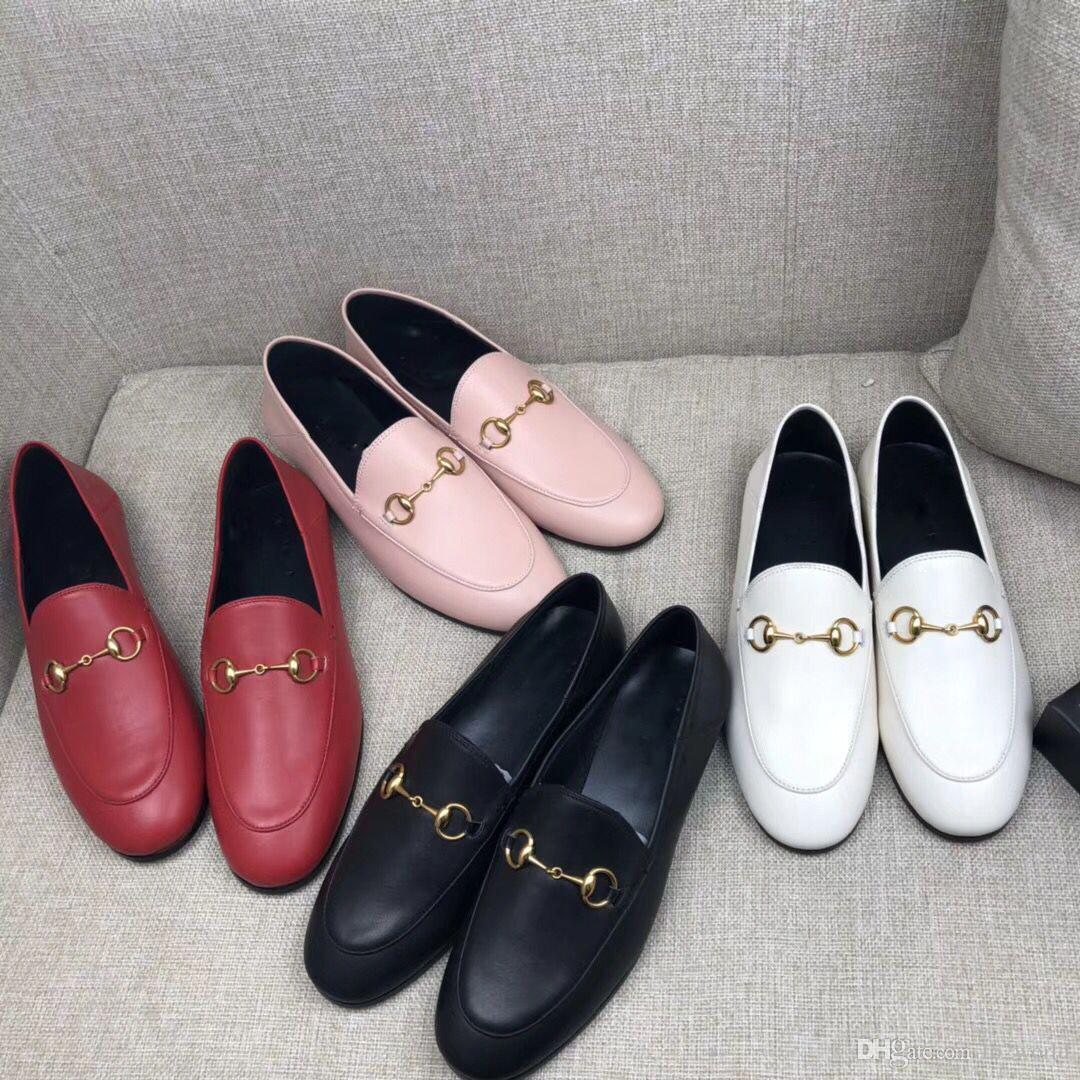 Best Selling 2018 Women Genuine Leather Fashion Loafers Luxury Mules Shoes High Quality Moccasins Shoes Horsebit Casual Shoes