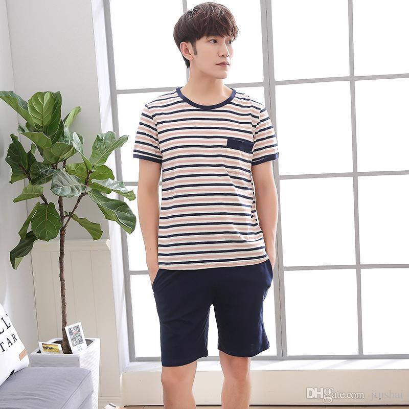 9a5d09a9578ba New Pajamas Men Sleepwear Sets Cotton Striped Short Sleeve Tracksuit ...