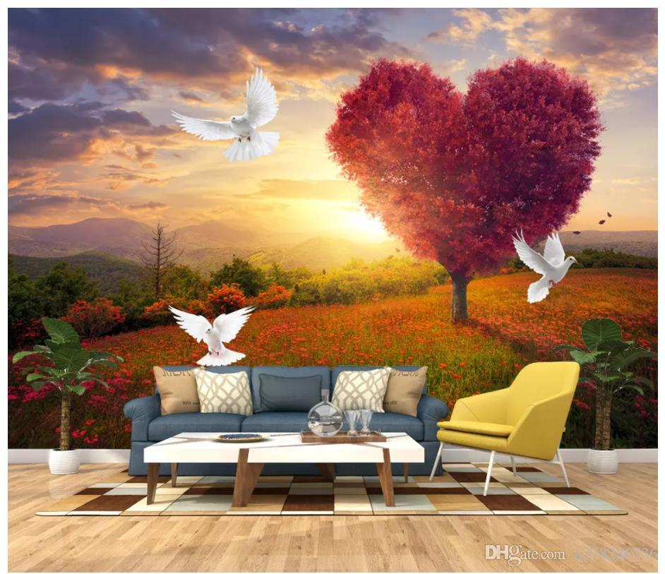 e141cea34e5b Wholesale 3D Photo Wallpaper Custom 3d Wall Murals Wallpaper Beautiful  Romantic Love Tree Sunrise Morning Glow Landscape Wallpaper For Walls  Desktop ...