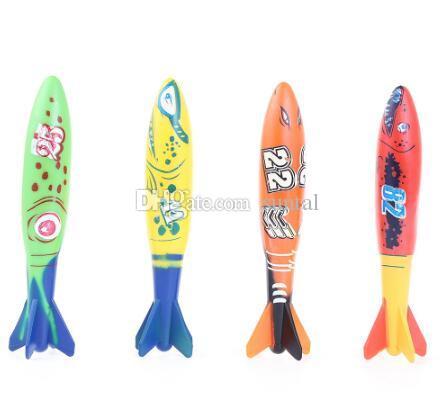 Torpedo Rocket Toy Torpedo Dive Swim Sticks Piscina Vasca da bagno Vasca da bagno Divertimento Nuoto Torpedo scivola sotto l'acqua giocattolo bambini