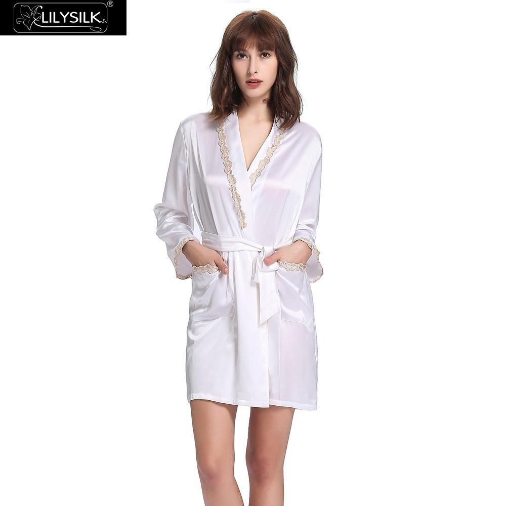 b4b621a45f 2019 Lilysilk Heavy Silk Women Long Bride Robe 22 Momme Long Sleeve  Waistband Contra Trim Pure Sleepwear Pocket Summer Fall Pajamas From  Sweatcloth