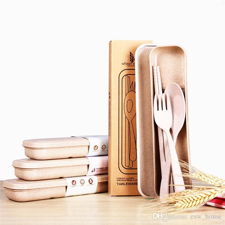 New Design Portable Wheat Straw Spoon Fork Chopsticks Set Tableware Eco-friendly Reusable Wheat Straw Travel Camping Cutlery Set