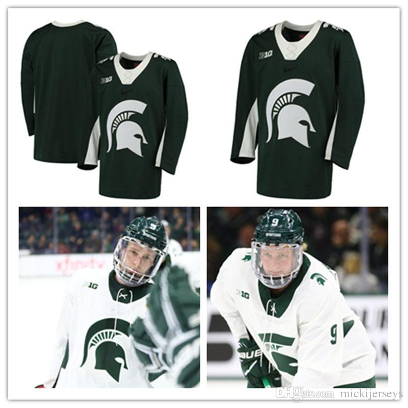 2019 Custom NCAA Michigan State Spartans College Hockey Jerseys Sam Saliba  Brennan Sanford Carson Gatt Cody Milan Michigan State Spartans Jersey From  ... 58662adee