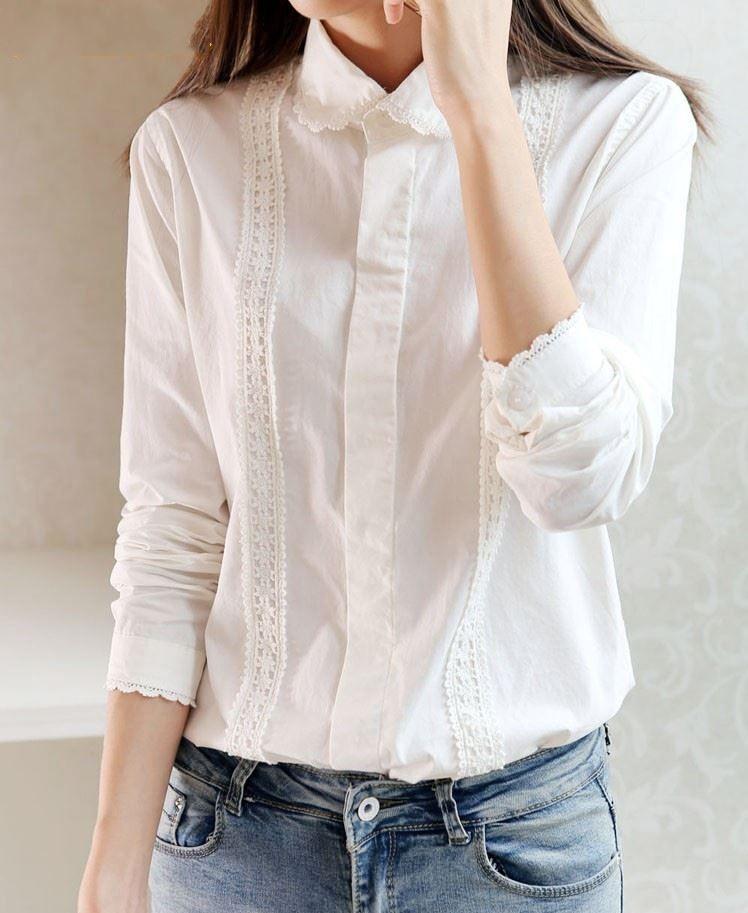 Großhandel Weiße Bluse Sammlung 13 Muster Frauen Baumwolle Spitze ...