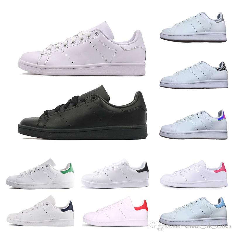 100% authentic 69a35 e4f07 Compre Adidas Stan Smith Nueva Llegada Stan Smith Hombres Mujeres Zapatos  De Skate Casual Negro Blanco Verde Zapatillas De Deporte Zapatillas De  Deporte ...
