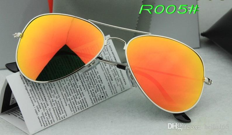 5PCS Excellent Quality Designer Sunglasses Pilot Sun Glasses For Mens Womens Gold Metal Flash Orange Mirror Glass Lenses Best Selling