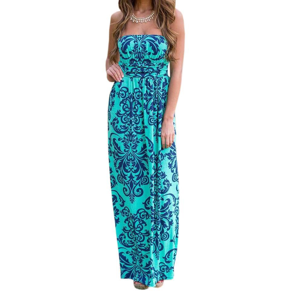 3061915488982 Sommer Maxi Langes Kleid Frauen Sexy Boho Kleider 2019 Sommerkleid Floral  Strandkleid Robe Femme Sleeveless Party Mujer GV725
