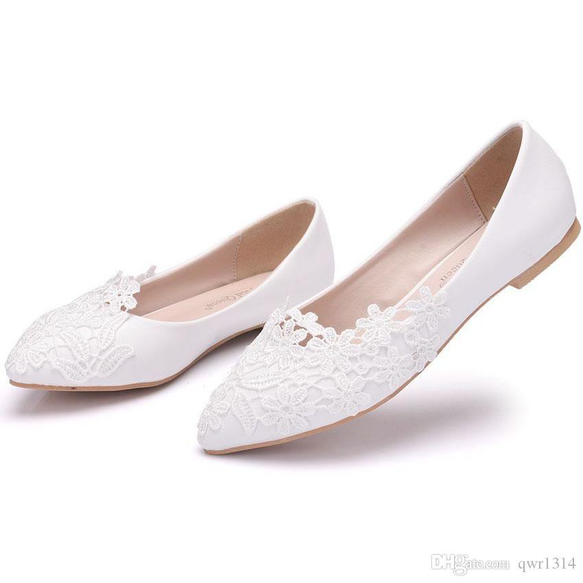 Nouveau belle couleur blanche femmes flats dentelle fleurs bout pointu appartements élégants mariée chaussures de mariage plus la taille beaux appartements à la main