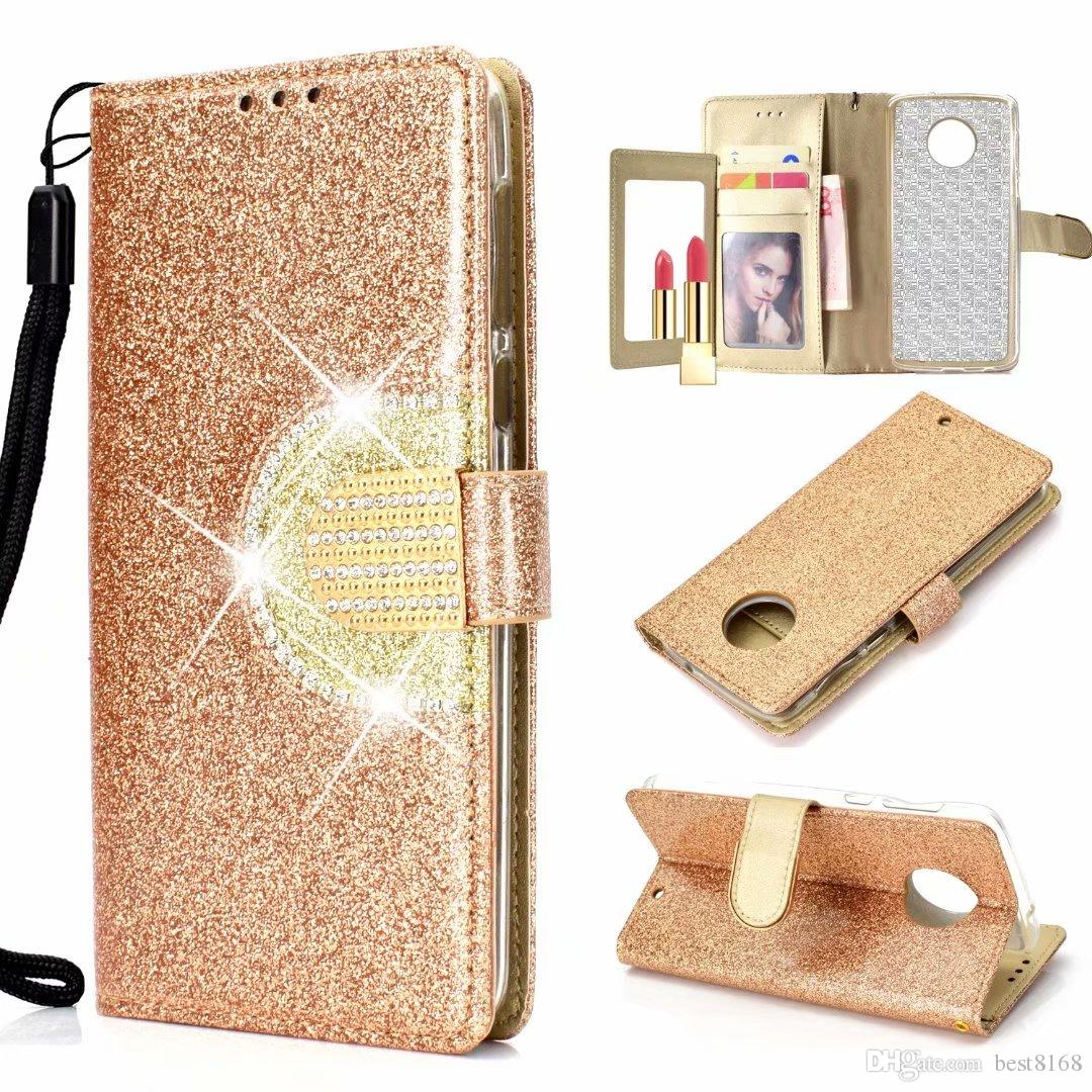 Per MOTO G6 Play Galaxy E5 Plus (A7 J6 J4 Plus) 2018 Sparkle Wallet Custodia in pelle Bling Diamond Mirror Glitter Sparkly Flip Custodia Custodia Borsa