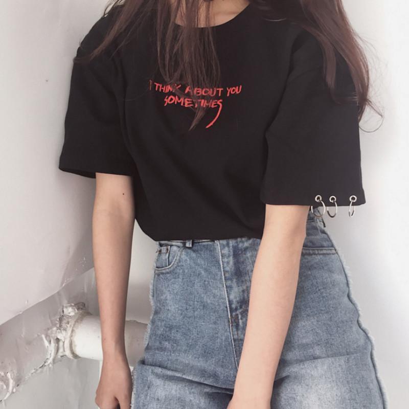 Compre Blusas De Moda 2019 Verano Mejores Amigos Camiseta Coreana Ulzzang  Harajuku Bordado De Manga Corta Camisetas Mujeres Camisas Top Casual A   23.53 Del ... 74d26b17539