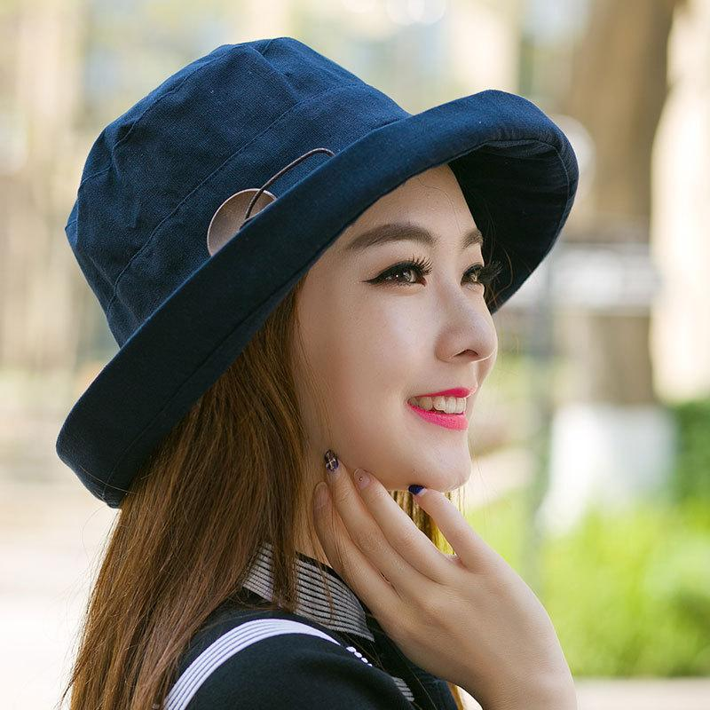 70fe4dad8a296 Acheter Lady Summer Beach À Large Bord Fisherman Hat Femmes Mode Anti UV Sun  Hats Coton Et Lin Boutons En Bois Plain Bucket Hat De  18.24 Du Rainbowwo  ...