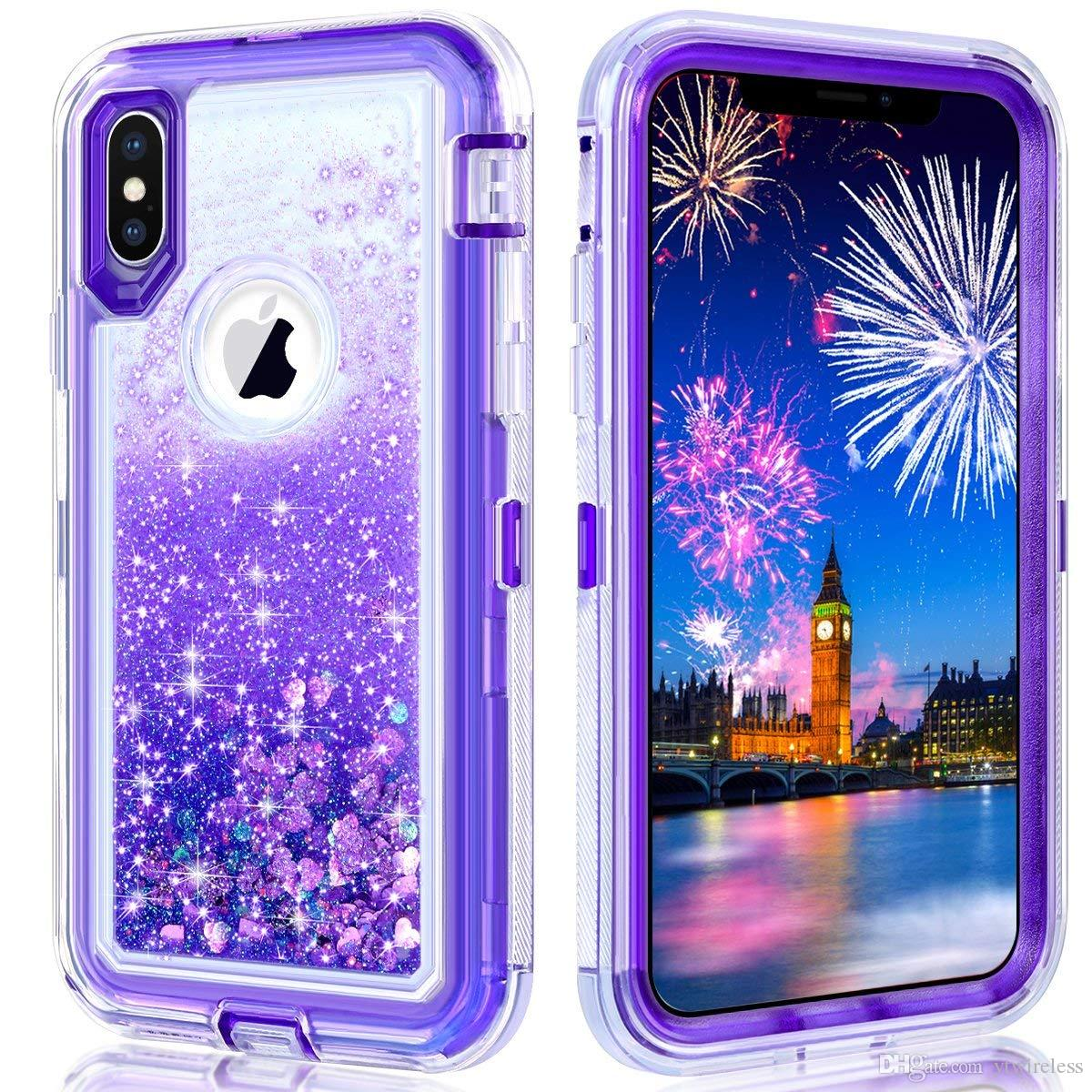 For Samsung Galaxy Note 9 iPhone 6 7 8 Plus XS Max XR 3 Layer Floating Quicksand Glitter Bling Shockproof Bumper with Clip Retail Packaging