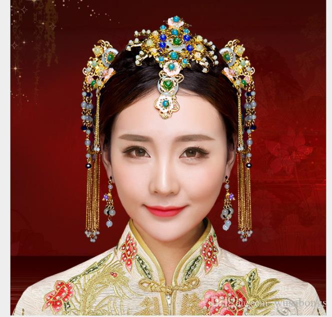 Chinese brides headwear, Phoenix crown wedding dress, dragon and Phoenix gown headwear 2018 wholesale costume, Han clothing, hairdressing ac