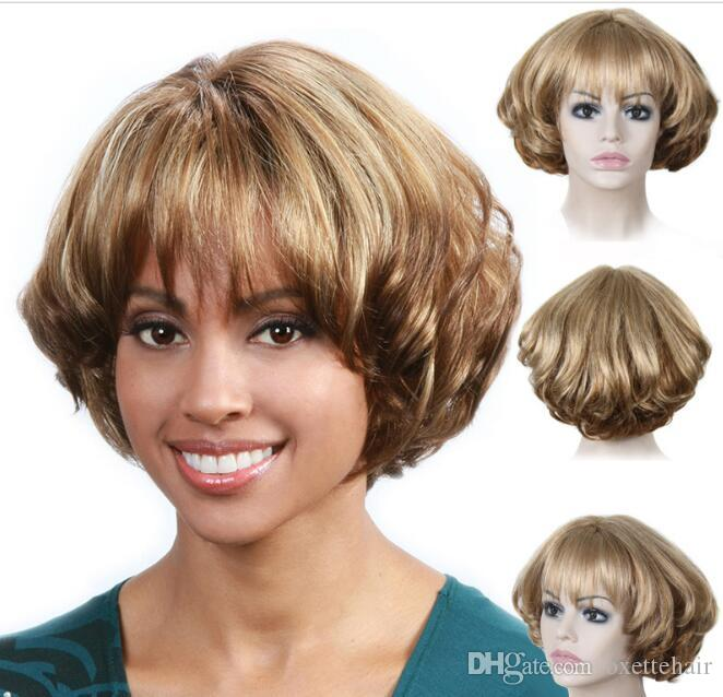 Blonde Wavy Short Hair Bob Wig With Bang Heat Resistant Fiber