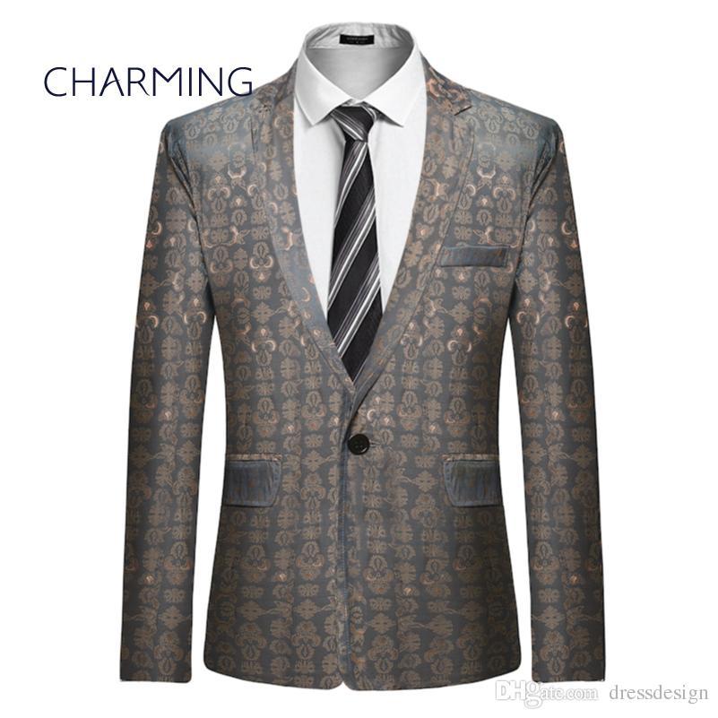 hot sale online f5b99 408ad Moderne Herren Anzüge Mode Jacquard Design Stoff Einreiher Herren  Abendessen Anzug italienische Anzüge junge Männer Anzüge
