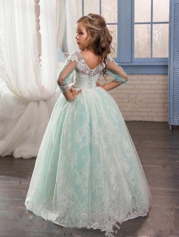 Burgundy Girls Pageant Dresses For Little Girls Blue Gowns 2018 Toddler Turquoise Kids Ball Gown Glitz Flower Girl Dress Weddings Beaded
