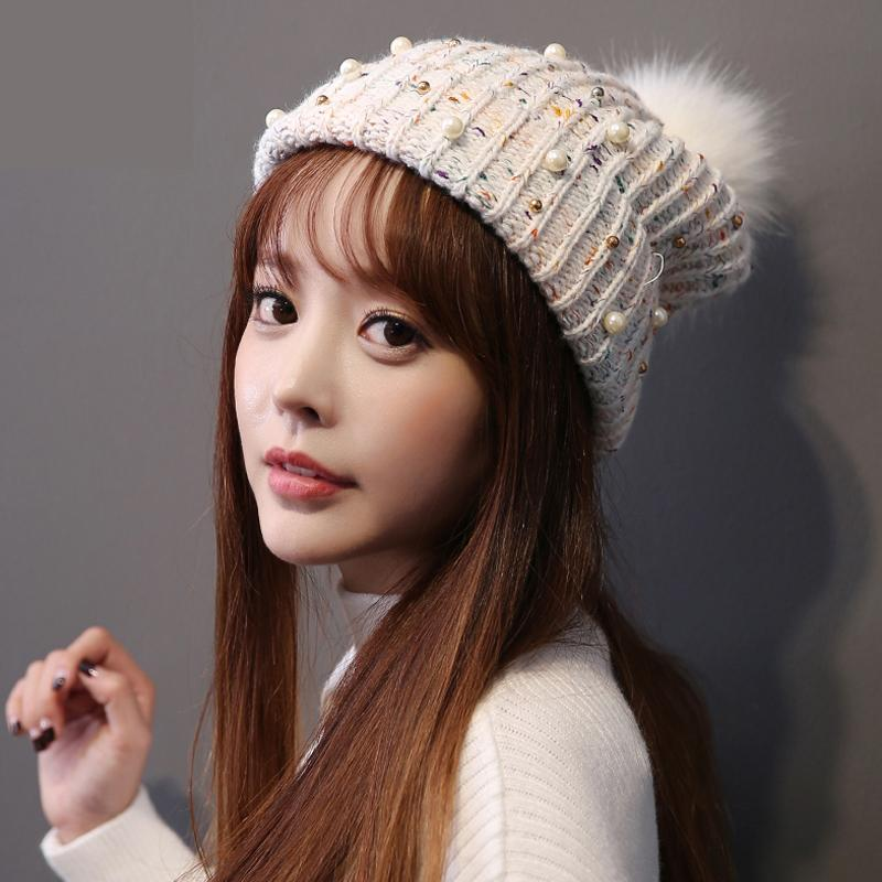 2018 Autumn And Winter Bonnet New Handmade Beaniewinter Hats For Women  Pearl Wool Hat Ladies Cute Warm Fashion Hair Ball Cap Slouchy Beanie  Crochet Pattern ... 617d8aae826f