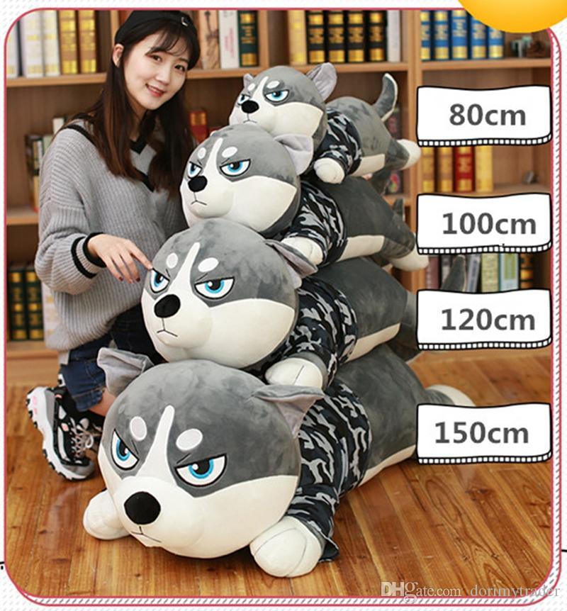 Dorimytrader 2018 New Cuddly Soft Anime Husky Plush Toy Large Stuffed Cartoon Dog Animals Pillow Gift Decoration DY50121