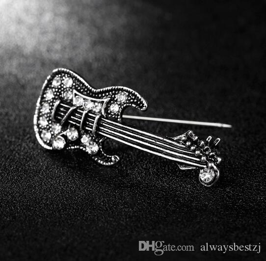 Vintage Gold Silver Violin Lapel Pins Crystal Rhinestone Corsage Brooch Women Men Lovely Brooches Party Jewelry Costume Accessory