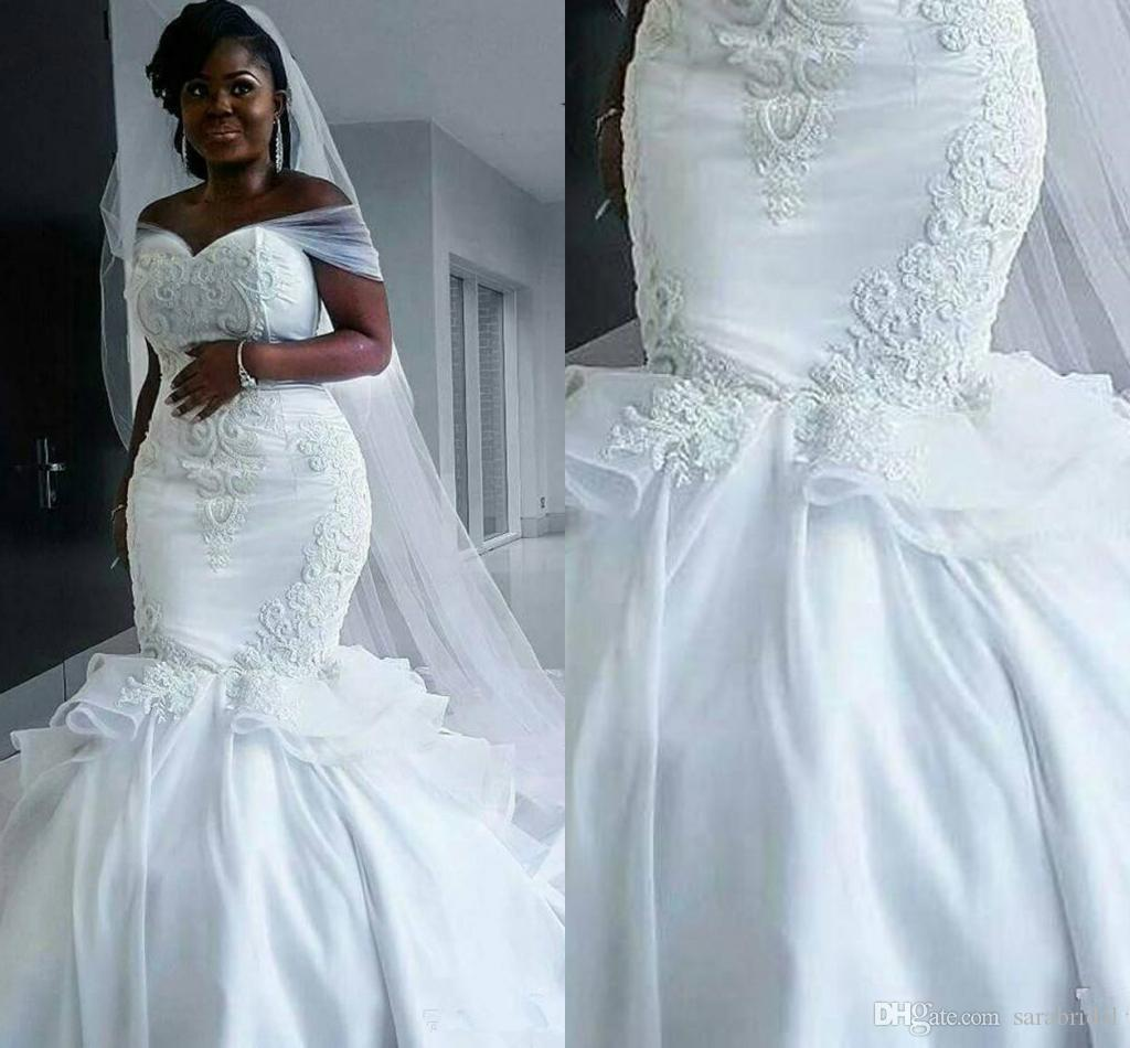 Real Picture America Africa Mermaid Wedding Dresses Plus Size Cap ...