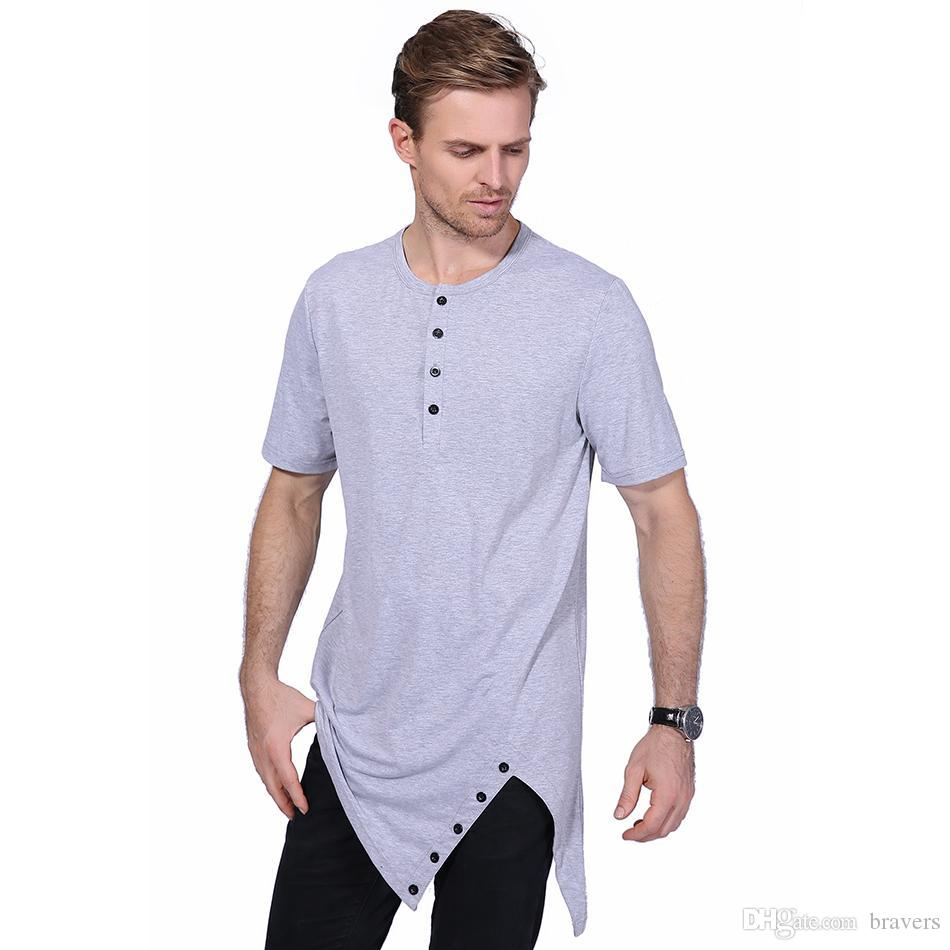 07992c419 Summer Men's T Shirt Men Fashion Buttons Decoration O Neck Short Sleeve T  Shirts Men Irregular Long Hip Hop Solid Top Tees YH-021