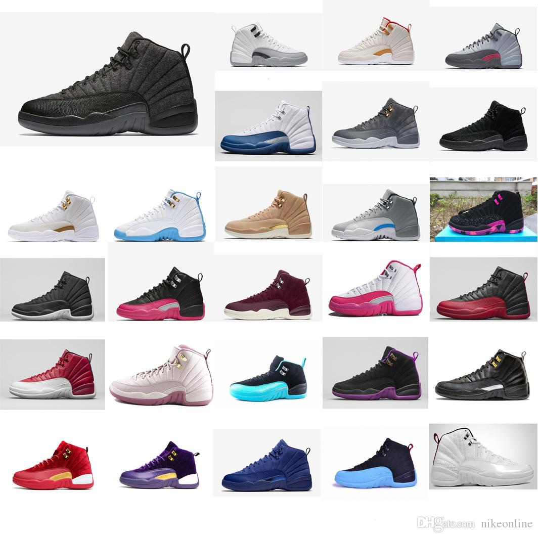 78df1c36ad3 2019 Cheap Women Jumpman 12 XII Basketball Shoes 12s White French Wool Black  Red Blue Pink Grey Boys Girls Youth Kids J12 Sneakers Boots For Sale From  ...