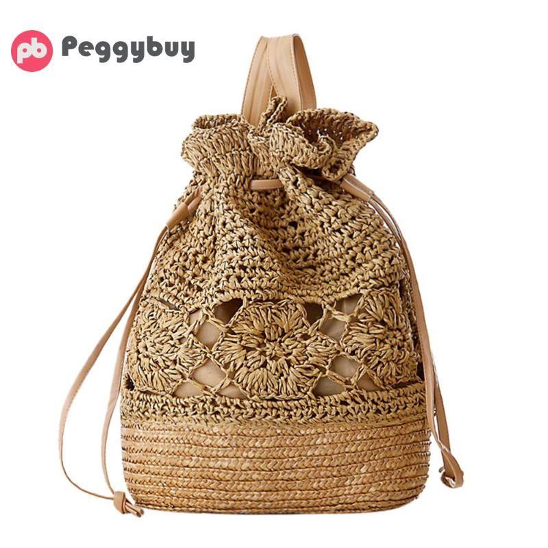 Preppy Style Women Crochet Summer Beach Backpack Girls Straw