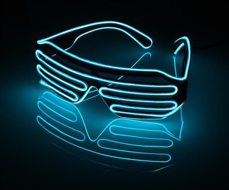 LED Sunglasses Flashing EL Wire Luminous Light Up Neon Glasses ...