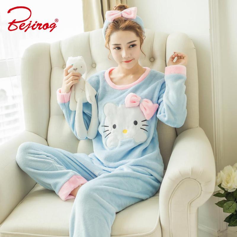 629c7a73d 2019 Bejirog Women Pajamas Sets Cat Prints Sleep Clothes Thick ...