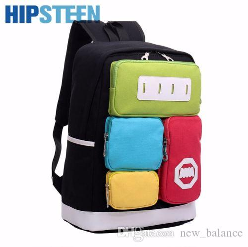 HIPSTEEN Unisex Men Women Travel Backpack Creative Personality Panelled Canvas Leisure Ladies Travel Backpack Many Pockets
