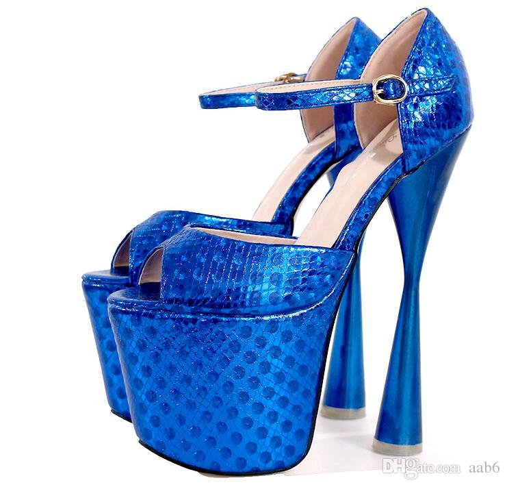19cm20cm ultra-high and waterproof platform hourglass shape with alligator tattooing sexy chunky and blue stage shoe.