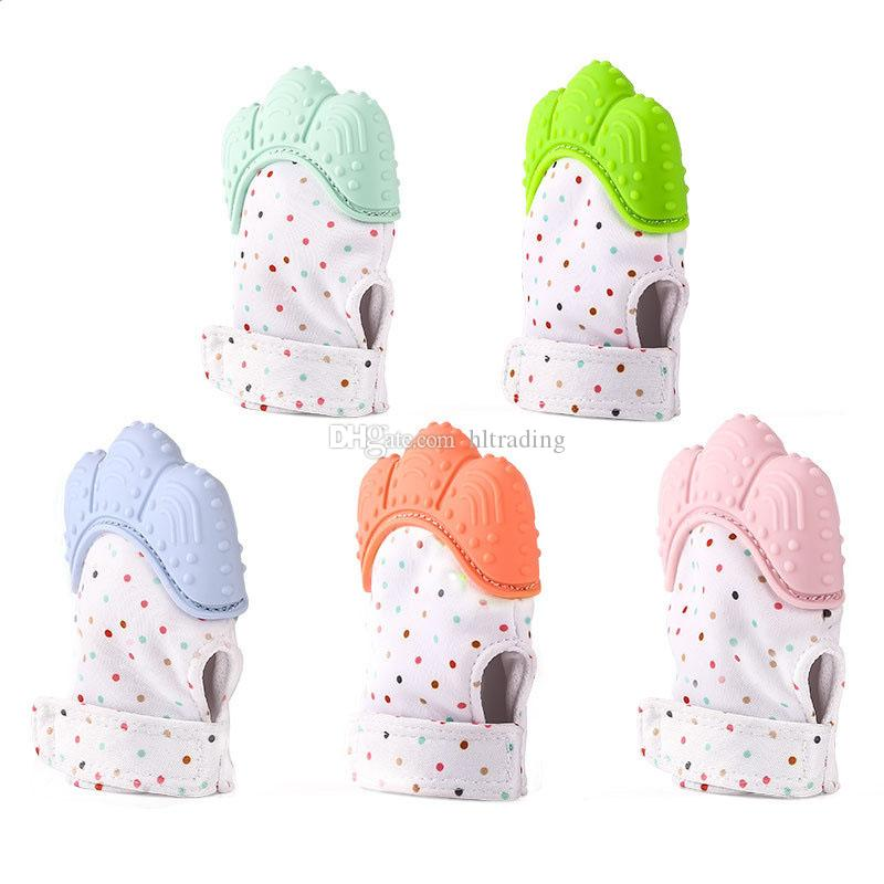 Baby Teething Mitten infant Soothers gloves Silicone Teether Toy Mini Chewable Gloves Newborns Gift 10 colors C3449