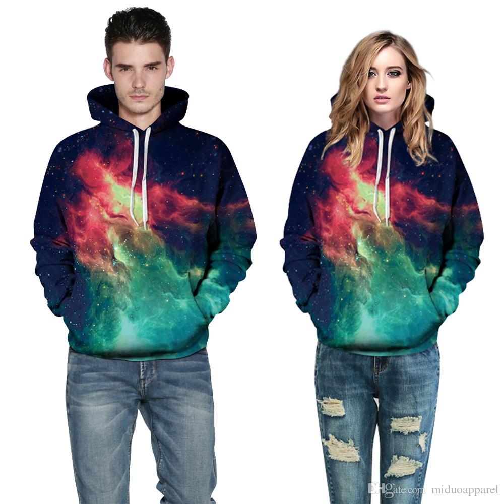 7afc3850e0d5 2019 Unisex Fashion 3D Galaxy Green Fire Purple Hoodie Polyester Men And  Women Hot Sport Sweatshirt Size S 3XL From Miduoapparel, $36.54 | DHgate.Com