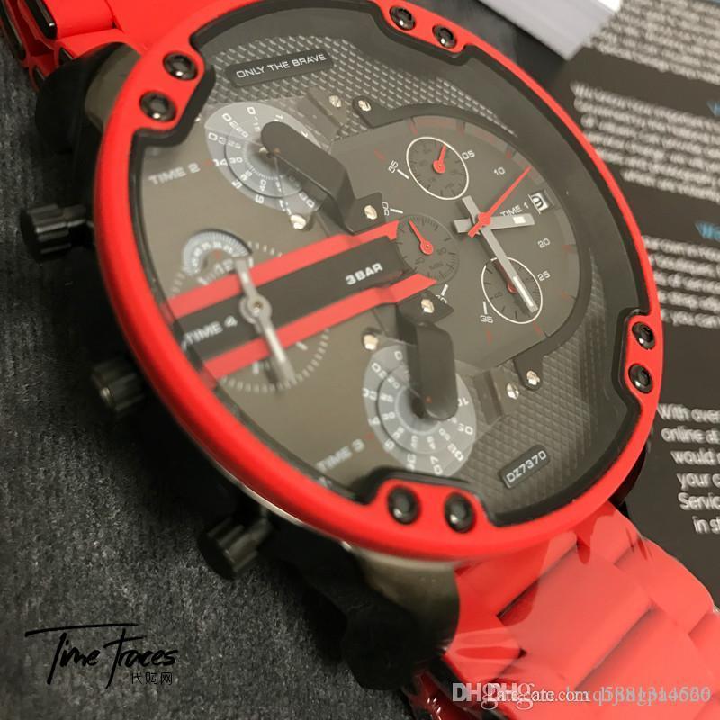 a1b41d1c3b1 Compre Original Top Marca De Luxo Homens Relógios Masculino Relógio Multi Fuso  Horário À Prova D  água Relógios Cronógrafo De Aço Inoxidável DZ Vermelho  Dos ...