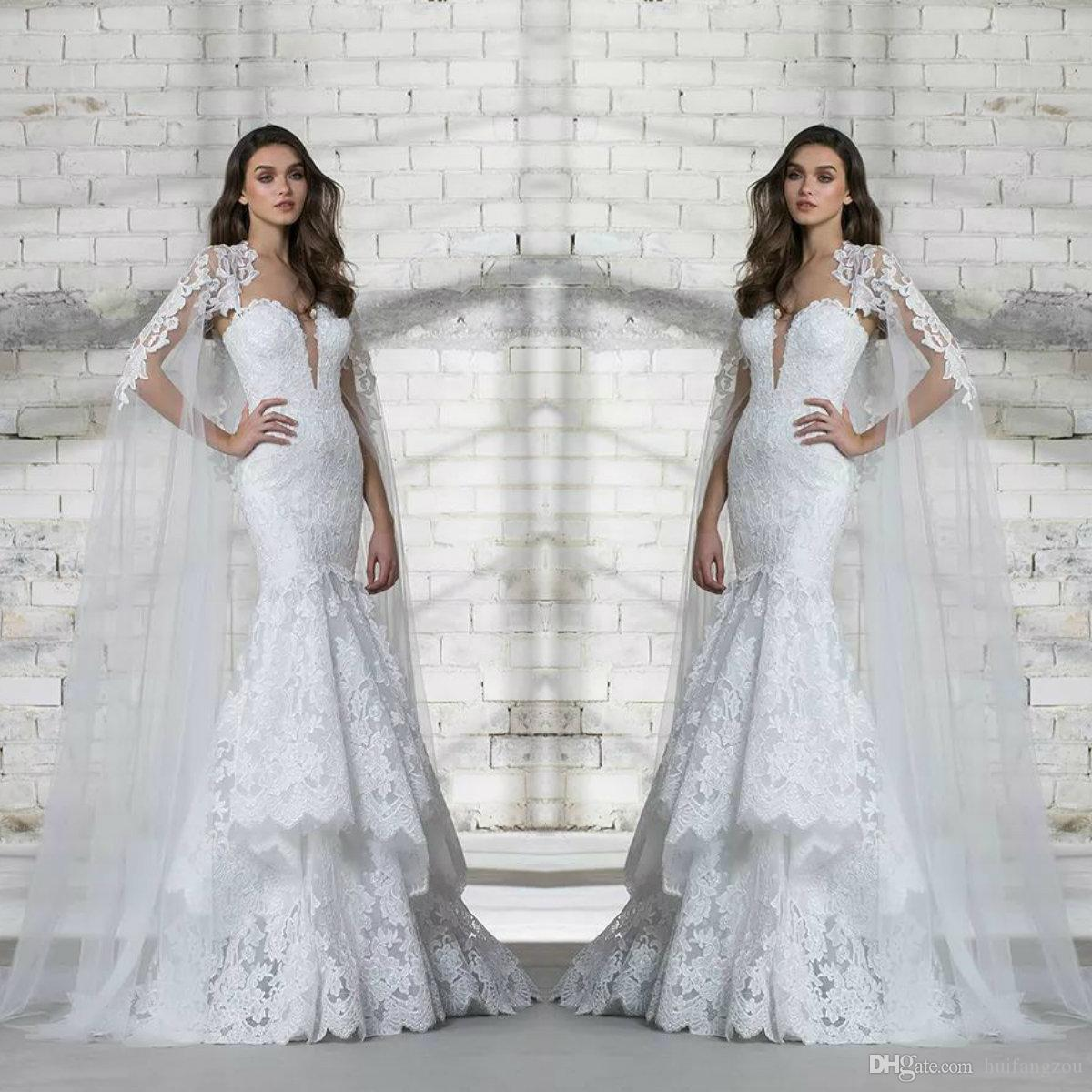 318e9e1b251 2018 Pnina Tornai Wedding Dress Full Lace Appliques Deep V Neck Tiered  Skirts Sequins Design Bridal Gowns With Long Wrap Corset Wedding Dresses  Couture ...