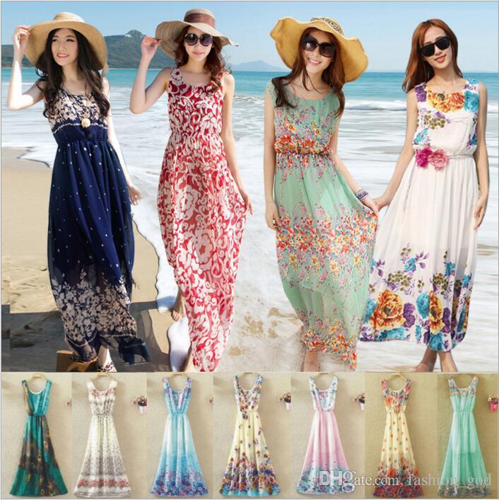 c9c100f1a Compre Vestidos Mulheres Bohemian Beach Dress Verão Floral Lady Boho Flor  Vestido Meninas Imprimir Long Maxi Vestido Moda Sem Mangas Chiffon Swimwear  3919 ...