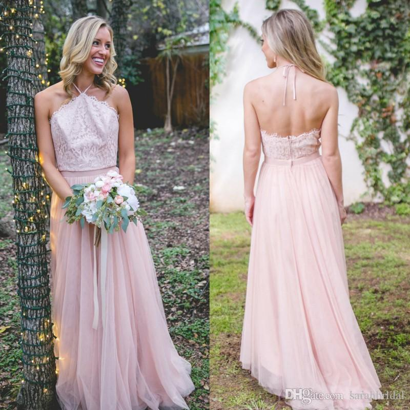 2018 Newest Summer Bridesmaid Dresses A Line Tulle Lace Top Halter