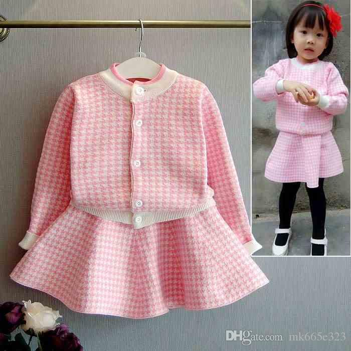 dd214c4242261 Baby Girls Sets 2018 Cute Knitted Checks Cardigan + Skirt Suit Autumn  Clothes for Children 3-8Y Kids Clothing