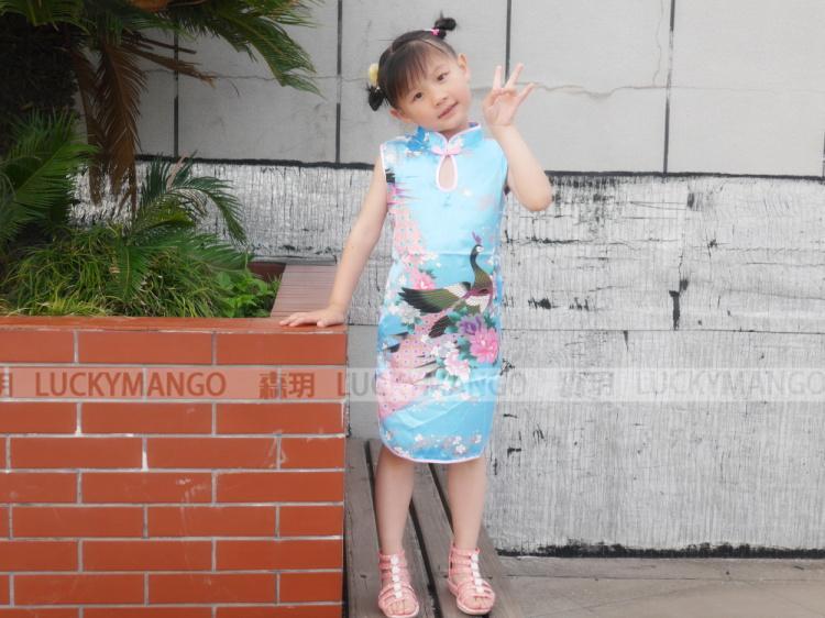 Dzieci dzieciak dziewczynka sukienki chiński styl kwiat ptaki sukienka / qipao ubrania bez rękawów letniej dziewczyny sukienka na imprezę bx024