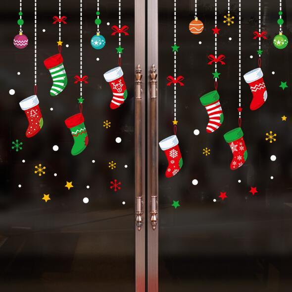 Christmas Wall Sticker Colorful Window Glass Decorative Stickers Holiday  Store Dress Up Christmas Tree Garter Wall Sticker CCA10655 Wall Decals For  Nursery ...