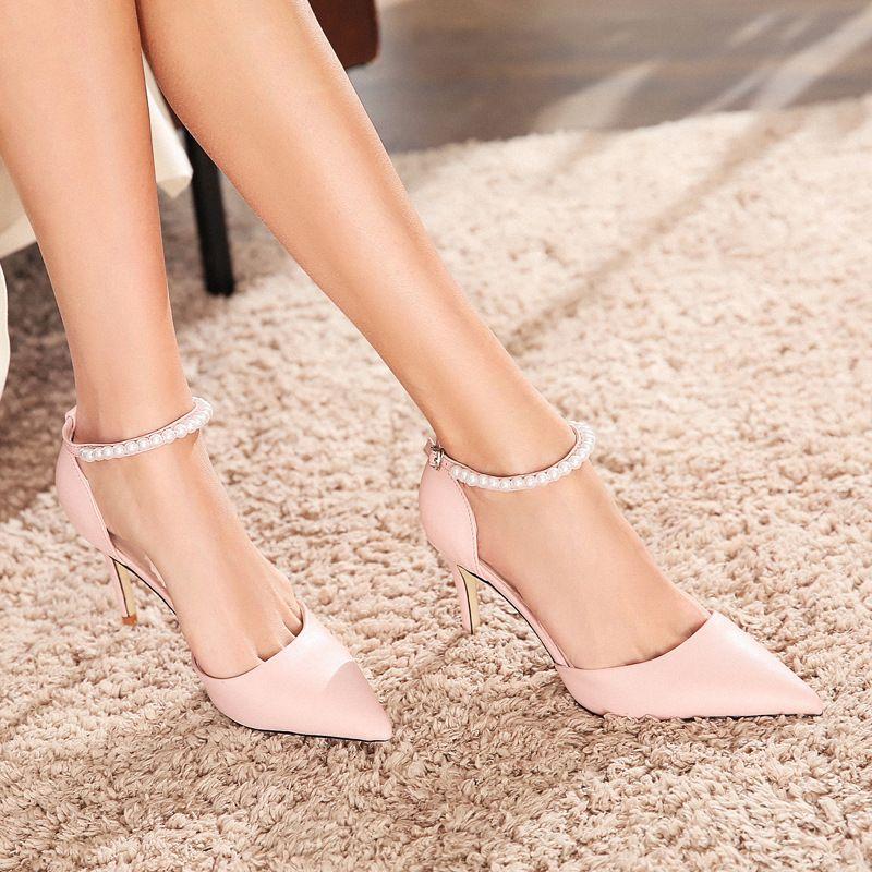 db81304e098a Brand Elegant Fashionable Beaded Women s Single Shoes PU Leather ...