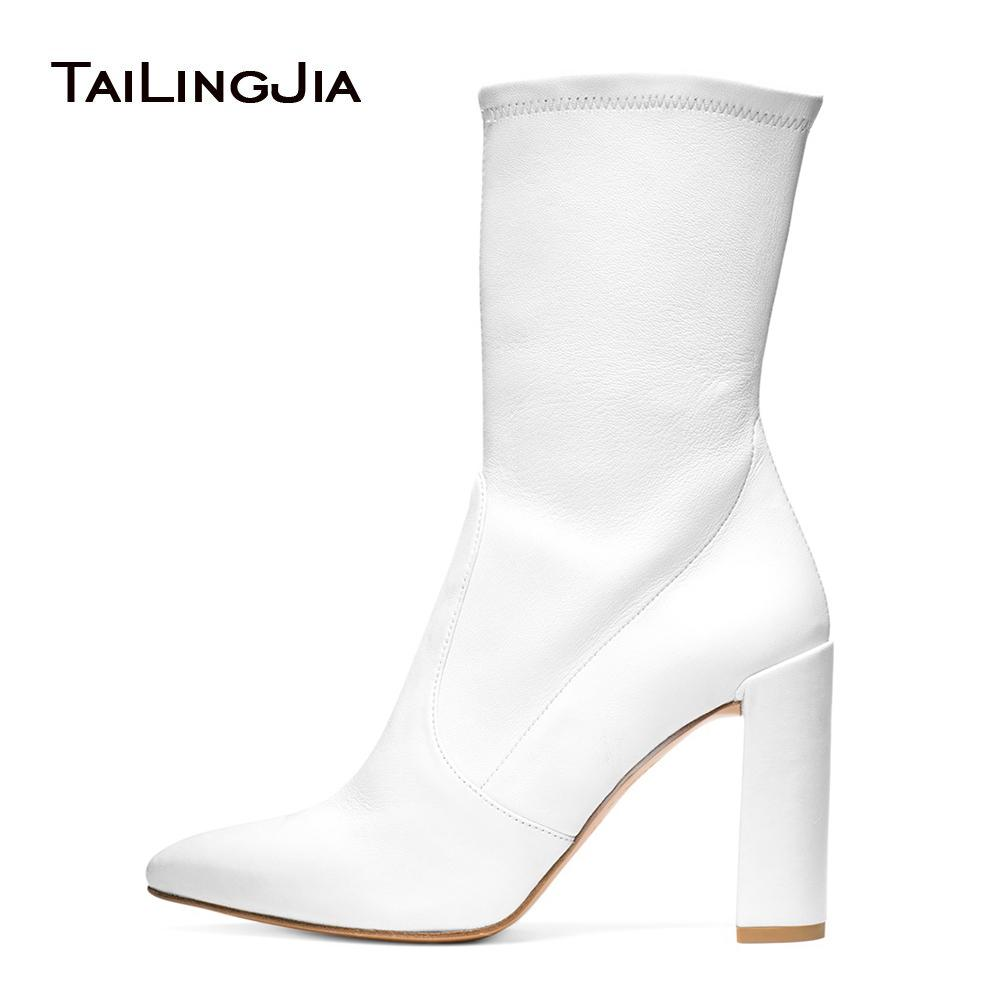 77106c6c3de Women Chunky Heel White PU Leather Sock Booties Black Stretch Mid Calf  Boots for Lady Pointy Toe Female Spring Autumn Shoes 2018