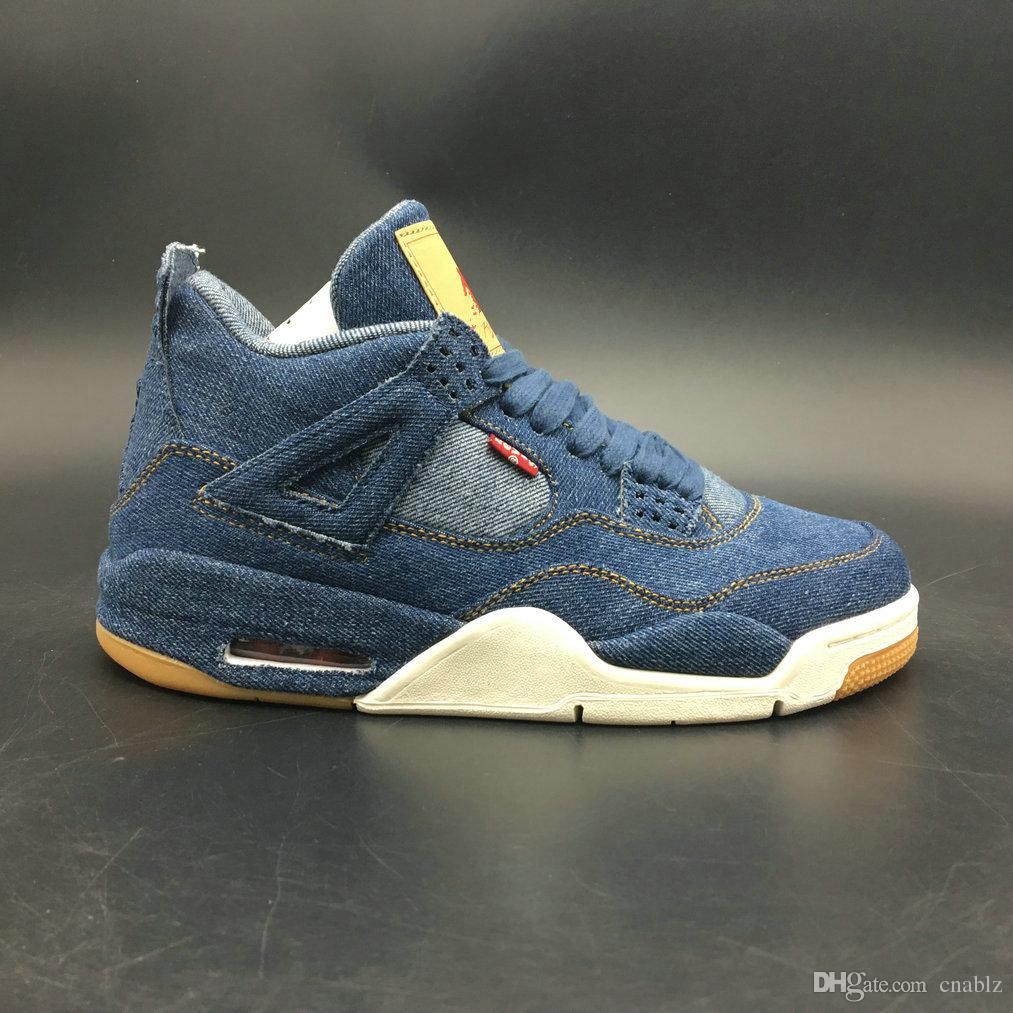 2018 высокое качество 4 джинсовые джинсы Travis Jean мужчины IV 4s обувь синий черный кроссовки тренеры баскетбол обувь