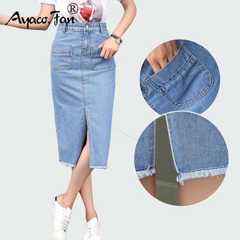 Compre Nuevo 2018 Paquete Primavera Verano Falda Hip Falda Jeans Faldas  Mujeres Paso Falda De Mezclilla Mujer Delgada Señora Cintura Faldas Faldas  Largas ... 705bfc554e91