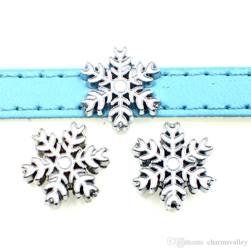 8mm enamel white snowflake slide charms beads fit 8mm pet collar