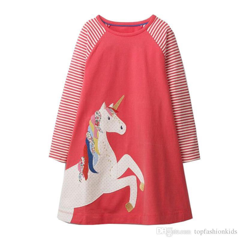 Bebek Kız Sonbahar Elbise Unicorn Zebra Kuşlar Noel Elbise Prenses Hayvan Aplikler Çocuklar 100% Pamuk Elbiseler Çocuk Bahar Giysileri